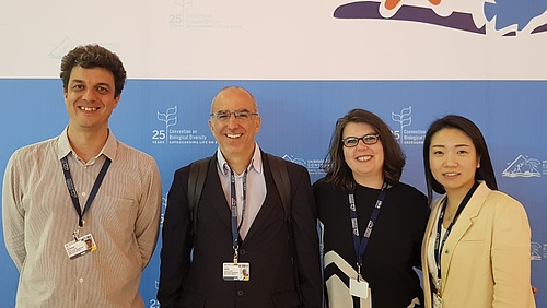Members of the GEO BON delegation including iDiv scientists (from left to right) Néstor Fernández, Henrique Pereira, Laetitia Navarro and HyeJin Kim (photo: Henrique Pereira)