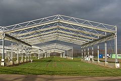 The GCEF research platform. Steel constructions with mobile roof and side panels allow the researchers to experimentally manipulate precipitation and temperature. (photo: Julia Siebert).