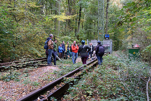 Prof Christian Wirth explained research at the Leipzig Canopy Crane platform during the excursion. Photo: Doris Wolst/UFZ