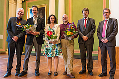From left to right: Dietrich Nies, Stanley Harpole, Tiffany Knight, Jonathan Chase, Olaf Christen, Michael Bron. photo: André Künzelmann (UFZ)