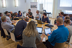Workshop participants discuss ways to boost ecological restoration in the EU using rewilding principles (photo: Stefan Bernhardt).