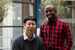Dr. Tomonori Tsunoda (left) and Crispus Mbaluto (right)